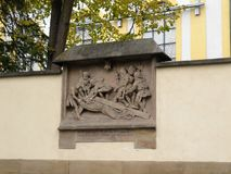 Bas-relief decoration on the street stock photo