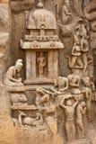 Bas-Relief del Penance de Arjuna Imágenes de archivo libres de regalías