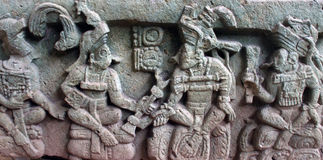 Bas Relief depicting K'inich Yax K'uk' Mo'. And other Ancient Mayan kings. Copan, Honduras stock image