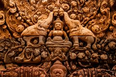 Bas Relief Detail in Angkor Wat, Siem oogst, Kambodja, Indochina, Azië royalty-vrije stock afbeelding