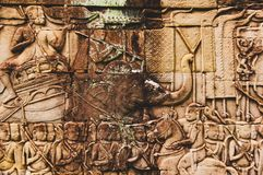 Bas Relief Detail in Angkor Wat, Siem Reap, Cambodia, Indochina, Asia royalty free stock image