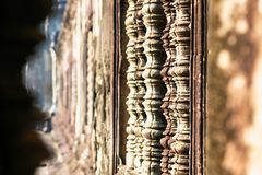Bas relief details of Angkor wat temple in Cambodia Royalty Free Stock Image