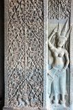 Bas relief details of Angkor wat temple in Cambodia Stock Photo
