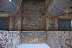 Bas-relief details of the Medinet Habu temple Royalty Free Stock Images