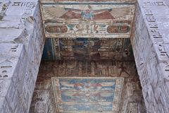 Bas-relief details of the Medinet Habu temple Stock Images