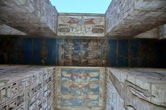 Bas-relief details of the Medinet Habu temple Stock Photography