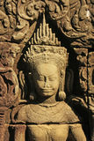 Bas-relief of Devata, Banteay Kdei temple, Angkor area Royalty Free Stock Photos