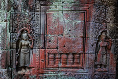 Bas Relief of Devatas at Preah Khan Temple, Siem Reap Stock Images