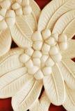 Bas-relief en pierre de sable de fleur de frangipani Image libre de droits