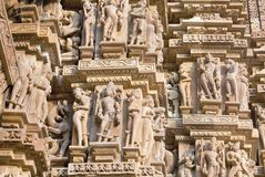 Bas-relief at famous ancient temple in Khajuraho, India Stock Images