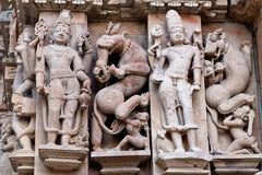 Bas-relief at famous ancient temple in Khajuraho, India Stock Photos