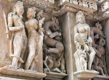 Bas-relief at famous ancient temple in Khajuraho, India Royalty Free Stock Photos