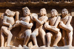 Bas-relief at famous Hindu temple in Khajuraho, India Stock Image