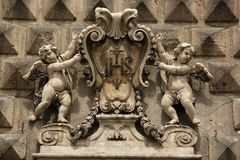Bas Relief. A Bas Relief forms a decoration on a building in the historic centre of Naples, Italy Stock Photos