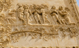 Bas-relief, Front of cathedral, Italy Stock Image