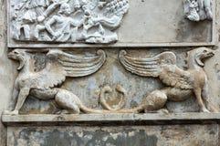 Bas-relief  in Garden of Villa Borghese. Rome Stock Photo