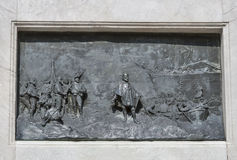 Bas relief on Guiseppe Garibaldi monument column in Lucca, Italy Royalty Free Stock Photography