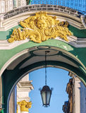 The bas-relief and the hanging lantern of the Hermitage. Stock Photo