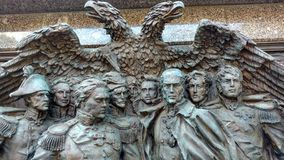The bas-relief of the heroes to the generals of the war of 1812. Bas-relief in the Alexander Garden, dedicated to the heroes of the war generals of 1812 Stock Photos