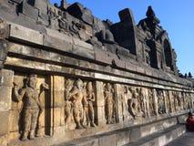 Bas Relief of Hindu Divinity, Prambanan Temple, Java, Indonesia Stock Photos