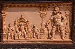 Bas-relief in Hindu temple. Rishikesh, India. Bas-relief in the Hindu temple of Hanuman Royalty Free Stock Images