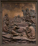 Bas-relief of Jesus preaching on the mount. royalty free stock photography