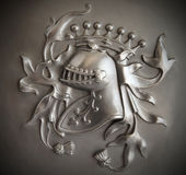 Bas-relief Knight's Crest with a dark vignette Royalty Free Stock Image