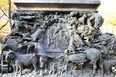 Bas-relief on Krylov monument in Summer Garden Stock Photo