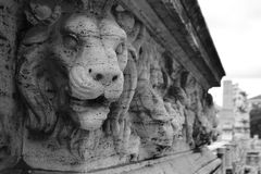 Bas relief of a lion on the bridge in Rome. Italy. Black and white stock images