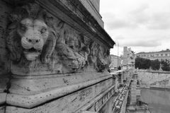 Bas relief of a lion on the bridge in Rome. Italy. Black and white stock photos