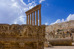 Bas Relief and Lion Head Figure, Baalbek, Lebanon, Middle East Royalty Free Stock Photography