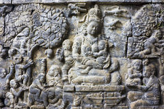 Bas-Relief at Mendut Temple, Indonesia royalty free stock image