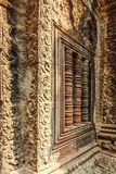 Bas-relief, merci temple antique de Prohm, Angkor Thom, Siem Reap, Cambodge Photos libres de droits