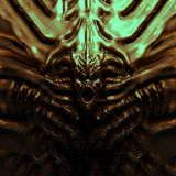 Bas-relief monster with horns. 3d illustration royalty free illustration
