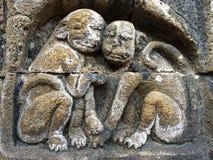Bas Relief montrant l'étape différente de la vie de Lord Buddha vers le nirvana, temple de Borobudur, Java-Centrale, Indonésie Photos stock