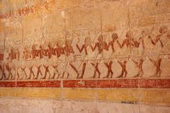 Bas-relief at the Mortuary Temple of Hatshepsut. Royalty Free Stock Photos