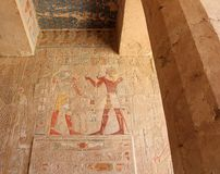 Bas-relief at the Mortuary Temple of Hatshepsut. Royalty Free Stock Image