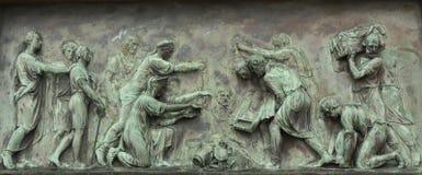 Bas-relief no monumento a Minin e a Pozharsky Fotografia de Stock