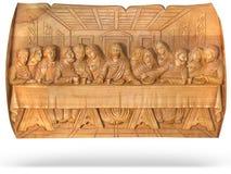 Bas-relief pasado de madera de la religión de la cena aislado Fotos de archivo libres de regalías