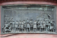 Bas-relief on the pedestal statue Nicholas I Stock Images