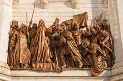 The bas-relief on the pediment of the temple of Christ the Savior in Moscow Royalty Free Stock Image