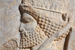 Bas-relief of Persian soldier from Persepolis, Ira royalty free stock images