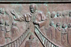 Bas-relief Pope John-Paul II, Duomo, Messina, Italy Stock Images