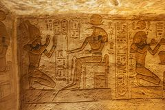 Bas relief of Ramesses II and Seth stock image