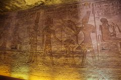 Bas relief with Ramesses II and Sobek stock photography