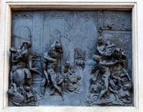 Bas-relief Rape of the Sabine Women, Giambologna, Florence, Italy Stock Image