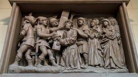 Bas-relief representing Jesus on the way to Calvary Stock Photos