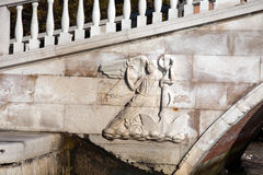 Bas-relief of Rialto bridge in Venice Royalty Free Stock Photography