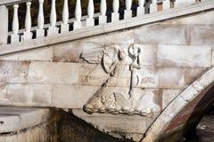 Bas-relief of Rialto bridge in Venice Royalty Free Stock Photography