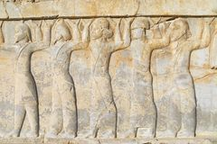 Bas-relief at the ruins of Persepolis in Shiraz, Iran. Royalty Free Stock Photography